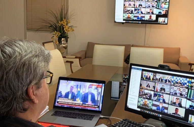 João Azevêdo participa de reunião com presidente Jair Bolsonaro e defende agilidade nas medidas de ajuda aos estados e municípios